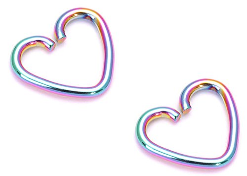 RoseSummer Surgical Steel Heart Ring Piercing Hoop Earring Helix Cartilage Tragus Daith (Multicolor)