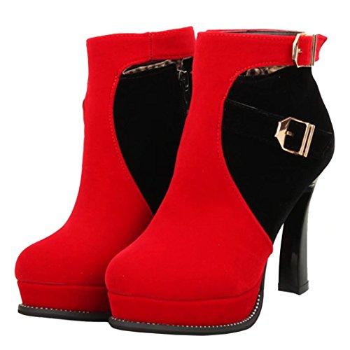 Aiyoumei Donna Cono Tacco Piattaforma Cerniera Stivaletti Autunno Inverno Stivaletto Alla Caviglia Con Fibbie Rosse