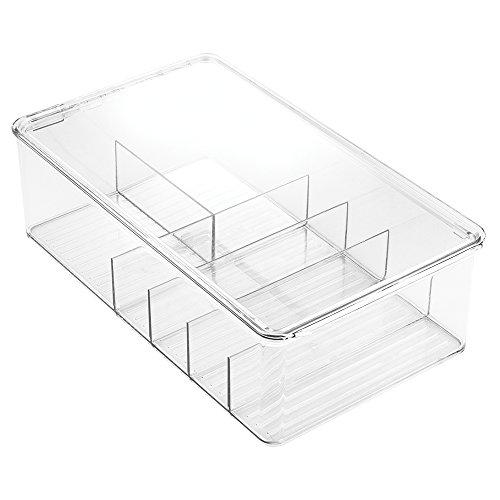InterDesign Clarity Bathroom Storage Box Organizer for Vitamins, Medicine, Medical, Dental Supplies - Divided, Clear (Divided Shelf Storage)