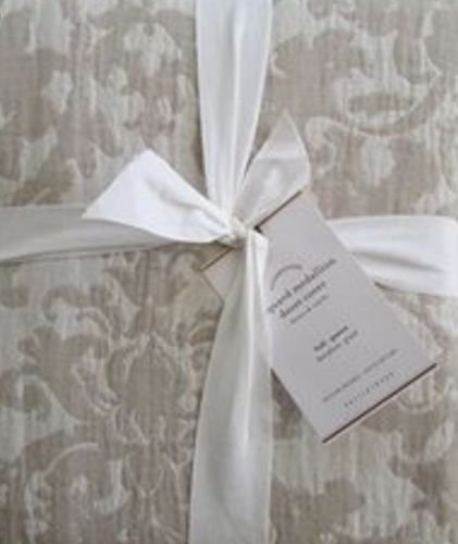 Pottery Barn JACQUARD MEDALLION Duvet Cover Full//Queen ~Ivory//Flax//Neutral~