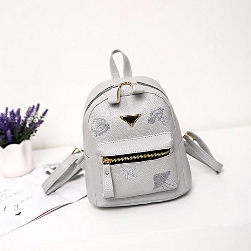 Girl Bag Fashion Gray Solid Preppy Backpack Style Bag Women Leather School Zipper Shoulder Small Bag xxU1Y8waq