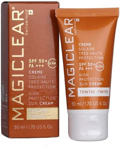Luxury Swiss Сoncealer TINTED Sunscreen SPF 50 PA++++ Like BB cream and CC cream with hight protection Moisturizer Sun cream Anti age Face daily Sunscreen. Magiclear best sunblock brand 1.7 Oz