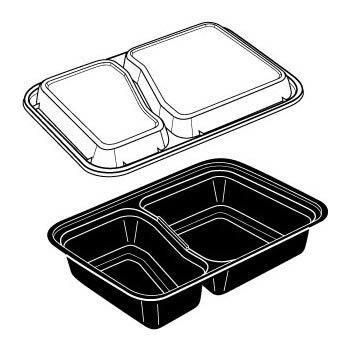 30 OZ. TWO COMPARTMENT BLACK RECTANGULAR VERSATAINER MICROWAVEABLE CONTAINERS... by Newspring