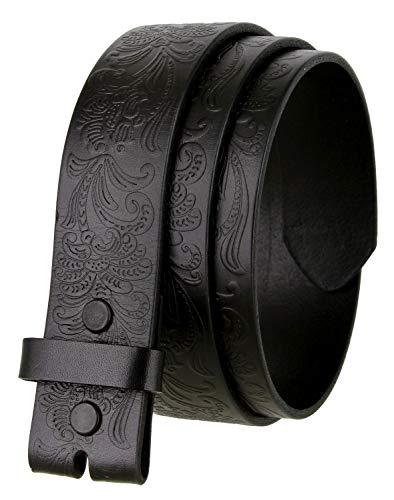 """Western Floral Engraved Tooled Full Grain Leather Belt Strap 1-1/2"""" wide (Black, 30)"""