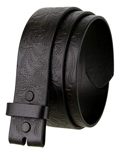 Western Floral Engraved Tooled Full Grain Leather Belt Strap 1-1/2
