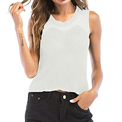 ?QueenBB? Women's Casual Round Neck Sleeveless Ribbed Knit Cami Crop Top Summer Basic T-Shirt