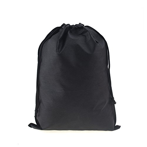 (Price/6 PCS) Opromo Non-Woven Drawstring Shoe Bag/Clothes case/Ditty Bag (Different sizes for selection)-Black-11.75 x 15.75 inch