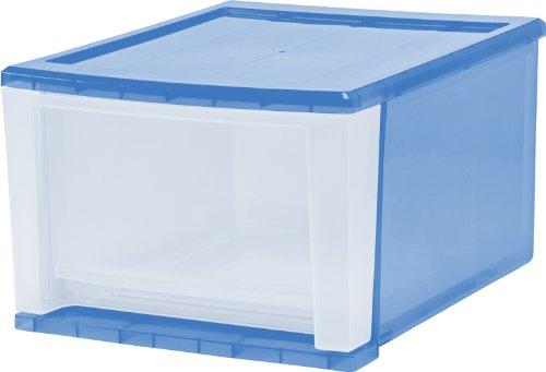 IRIS 17 Quart Stacking Drawer, 4 Pack, Blue