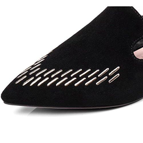 Jyshoes Pantofole Chiuse Estate Donna Muli Piatti In Pelle Scarpe Comode Pantofole Nere (pelle Scamosciata) 1