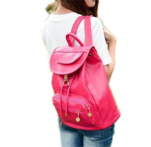 QIHUOKEJU Fashion Women Backpack PU School Bags For Teenagers Girls Top-Handle Backpacks