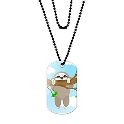 Made On Terra Silly Hanging Sloth Acrylic Dog Tag With Black Ball Chain - Jewelry