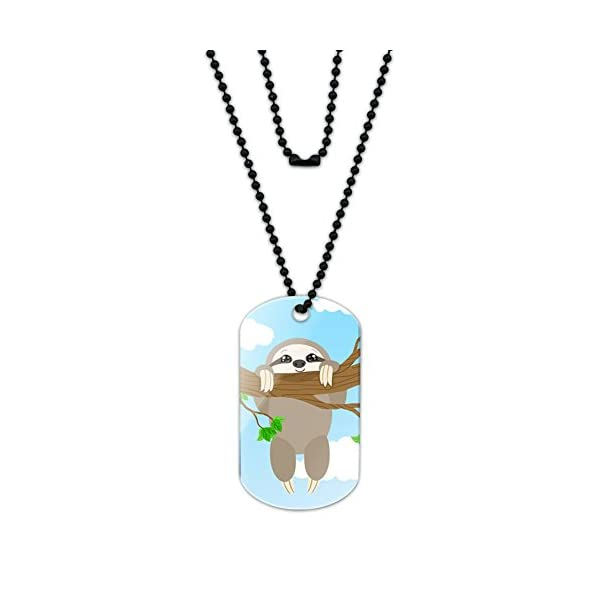 Made On Terra Silly Hanging Sloth Acrylic Dog Tag With Black Ball Chain -