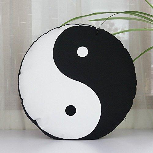 Yin yang Symbol Tai Chi Cushion Cover,Abstract Throw Pillow Covers, Handmade Applique Pillowcase,Black Pillowcase Throw Pillow 18×18