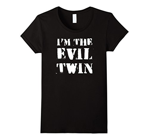 Womens Im The Evil Twin | Funny Halloween Horror Shirt Medium Black (Twin Costumes For Teens)