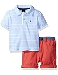 Nautica Boys' Printed Polo Shirt with Flat Front Solid Short Set