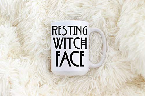 Resting Witch Face Mug Coffee Mug Tea Mug Halloween Mugs Punny Mug Coven Coven Mug Funny Halloween Mugs Black And White Gift Idea -