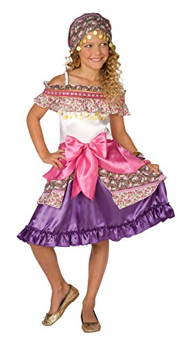 Girls Gypsy Fortune Teller Cosplay Child Fancy Dress Party Halloween Costume, S (4-6)