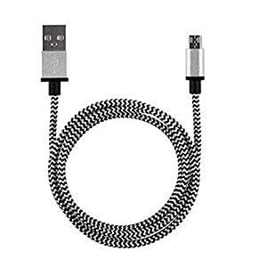 Aobiny Braided Aluminum Micro USB Data&Sync faster Charger Cable For Android Phone (Silver)