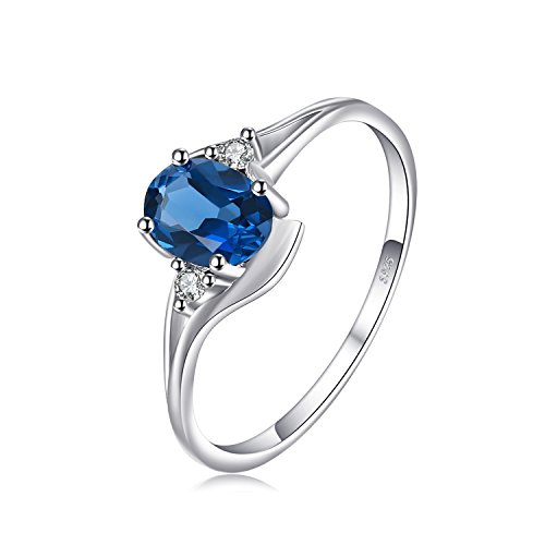 Oval Solitaire Ring Setting (JewelryPalace Oval 0.9ct Natural London Blue Topaz Solitaire Engagement Ring 925 Sterling Silver Size 8)