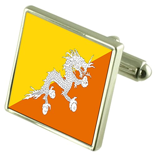 Bhután Sterling Silver Flag Cufflinks in Engraved Personalised Box by Select Gifts