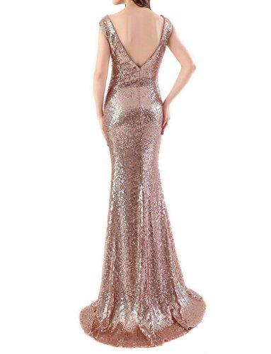 JYDress vestido de lentejuelas sin mangas, con cuello en V, vestido de fiesta de dama. dorado dorado 40