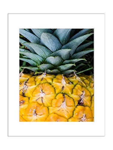 (Pineapple Photo Decor, Tropical Fruit Kitchen Art, Food Photography 8x10 Inch Matted Print )