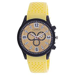 Lumex Men's Gold Dial Rubber Band Casual Watch - MS55BS2