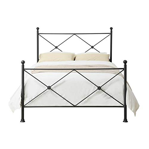 Home Fare King Metal Poster Bed with X Accents in Iron Black