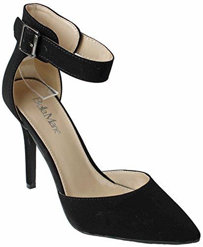 JJF Shoes Women Pointed Toe Ankle Strap Cuff High Heel Stiletto Dress D-orsay Dress Pumps Black 9nEyIp1L