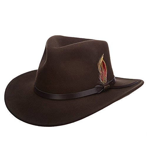 Scala Classico Men's Crushable Felt Outback Hat, Olive, X-Large ()