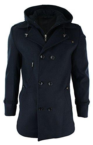 Oscar Banks Mens Slim Fit Wool 3/4 Double Breasted Sailor Overcoat Jacket Removable Hood Blue (Bank Sailor)