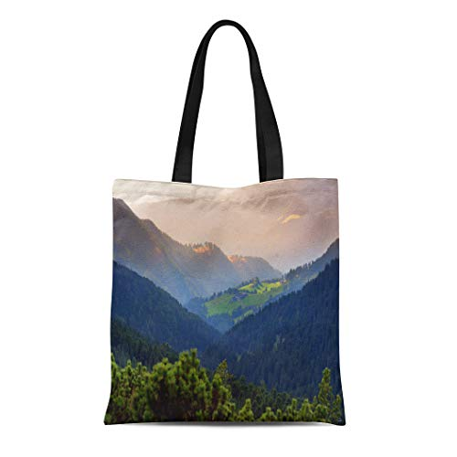 Semtomn Cotton Canvas Tote Bag Scenic Landscape of Mixed Pine and Deciduous Forest Reusable Shoulder Grocery Shopping Bags Handbag Printed