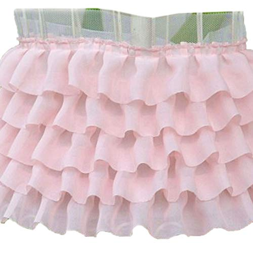 (6-1/2 Inch Wide Chiffon Ruffled Lace Trims Tulle Tutu Dress Accessory Pack of 2 Yards (Pink))