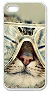 Cool Cat Iphone 5/5s Case with White Skin Edges PC Hard Shell by Shariecover