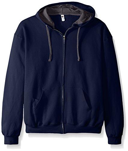 Fruit of the Loom Men's Full-Zip Hooded Sweatshirt, Navy, XXX-Large