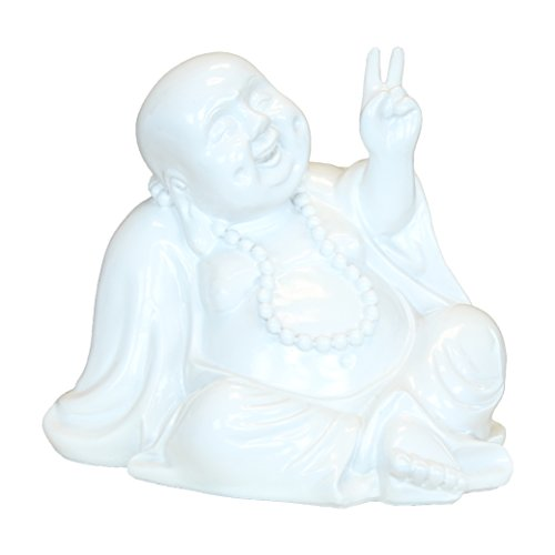 Chinese Peace Sign (Peace Buddha Money Bank, Sitting Laughing Feng Shui Piggy Bank, White Resin, 7 Inches)