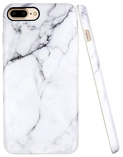 iPhone 7 Plus Case, A-Focus White Marble Stone Pattern IMD Anti-Scratch Anti-Finger Slim Flexible TPU Cover Case for iPhone 7 Plus/iPhone 8 Plus 5.5 - Matte Gray 2
