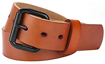 Men's 100% Italian Cow Leather Belt, Autolock Full Grain Leather Jean Belt for Men, 5-Year Warranty - brown - Size 38(Waist 36)