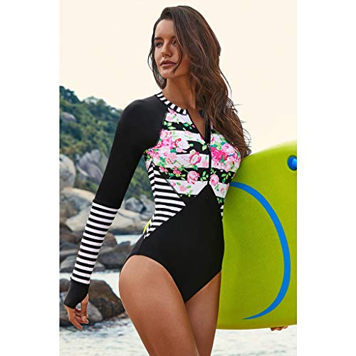 IEasⓄn Diving Suit,Women One Piece All in One Zipper Diving Swimsuit Beach Bathing Suit Long Sleeve Protective (XL, Black) by IEasⓄn (Image #1)
