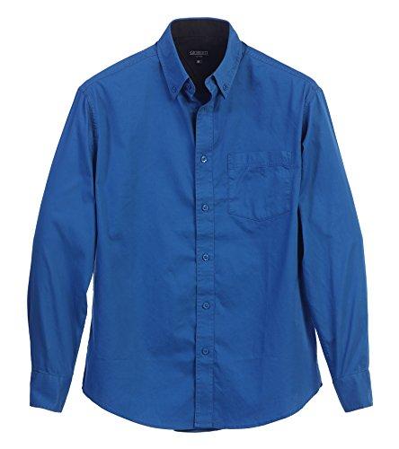 Gioberti Mens Long Sleeve Casual Twill Contrast Shirt, Royal Blue, Medium
