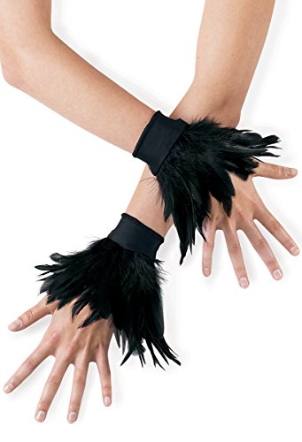 Balera Dance Costume Feather Wrist Cuffs Black (Tap Dance Costume Halloween)