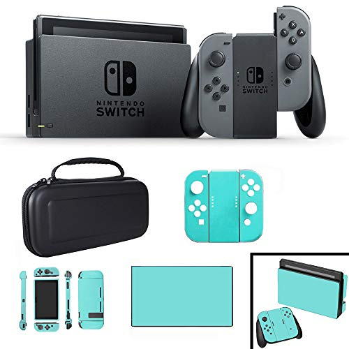Nintendo Switch 32 GB Console with Gray Joy Con with Hard Shell Carrying Case & Blue Skin
