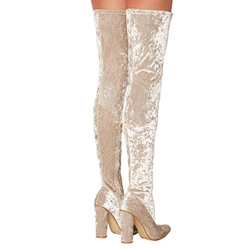 On Wildleder Beige Overknee Block Fashion für Vegan Stiefel Frauen Slip Ferse UMEXI Comfy Overknee qxSZwAg