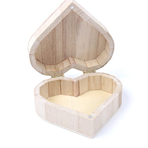 Wooden Heart Box - ORYOUGO Fashion Wooden Jewelry DIY Love Heart Shape Box Case Storage Decor Crafts