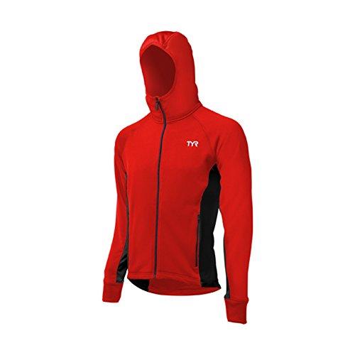 (TYR 640WAMJC2AL Men's Alliance HD Warmup Jacket, Red/Black, Large)