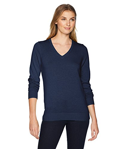 Amazon Essentials Women's Standard V-Neck Sweater, Navy, Large by Amazon Essentials