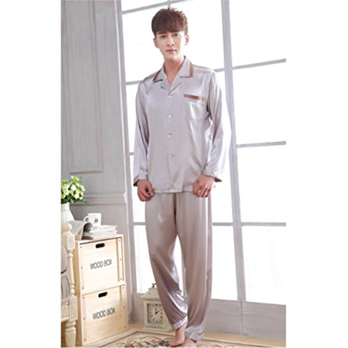 MOXIN Couples Section of Silk Pajamas Long Sleeve Men And Women set , xxxl , 5273 silver grey man by moxin