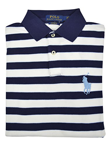 Polo Ralph Lauren Men's Custom Fit Striped Mesh Big Pony Polo Shirt Navy Blue Large (Lauren Shirt Ralph Striped Rugby)