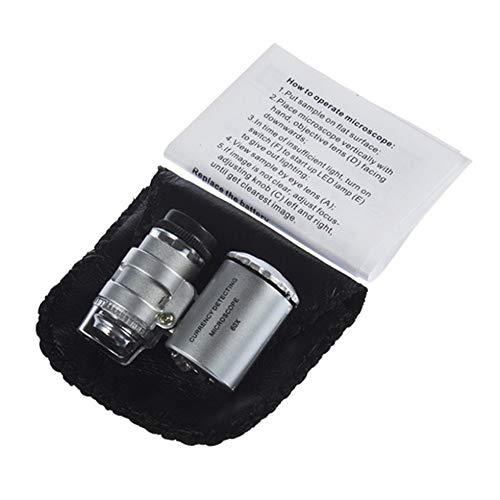 60X Zoom LED Microscope Micro Lens New Silver Handheld Monocular Microscope silver