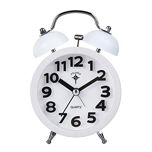Danse Jupe Kids Non-Ticking Twin Bell Loud Alarm Clock Battery Operated Bedside/Table Analog Alarm Clock(White)